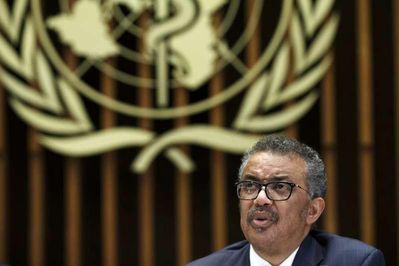 世界衛生組織總幹事譚德塞,2月12日針對武漢肺炎危機召開記者會。(AP)