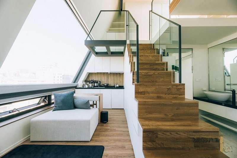 韓國的江南區近年出現了一個特別的「樹屋」(Tree house),是韓國第一個專門分租給年輕人的共享公寓。(圖/瘋設計)