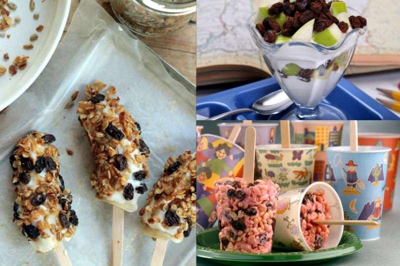 挑對孩子的餐間點心,葡萄乾搭配水果、麥片,讓寶貝吃的營養又健康。(圖/加州葡萄乾協會台灣聯絡處提供)