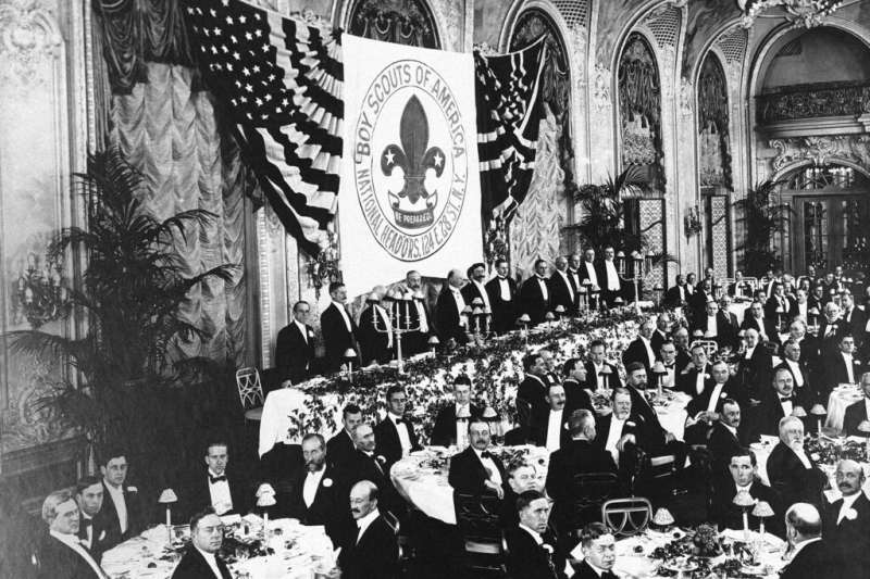 美國童軍1916年甫成立幾年時的聚會。(AP)