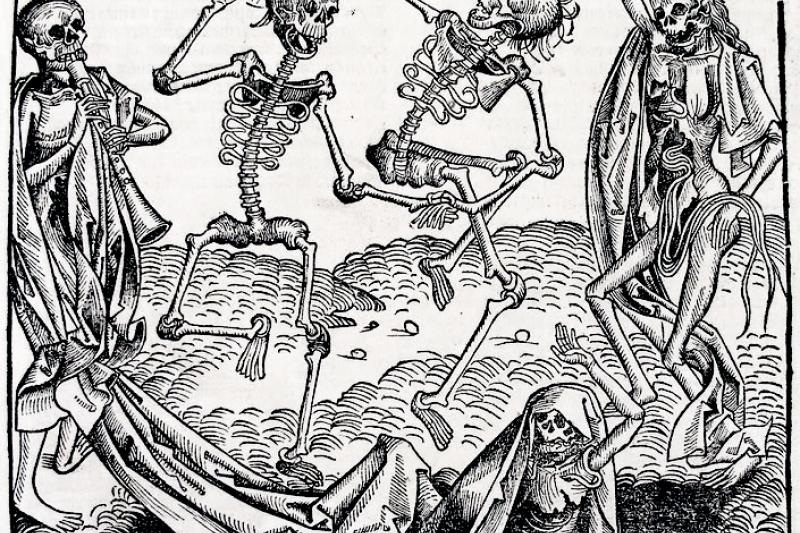 死亡之舞或骷髏之舞,受到黑死病的啟發,普遍出現在中世紀晚期的繪畫主題。(取自維基百科)