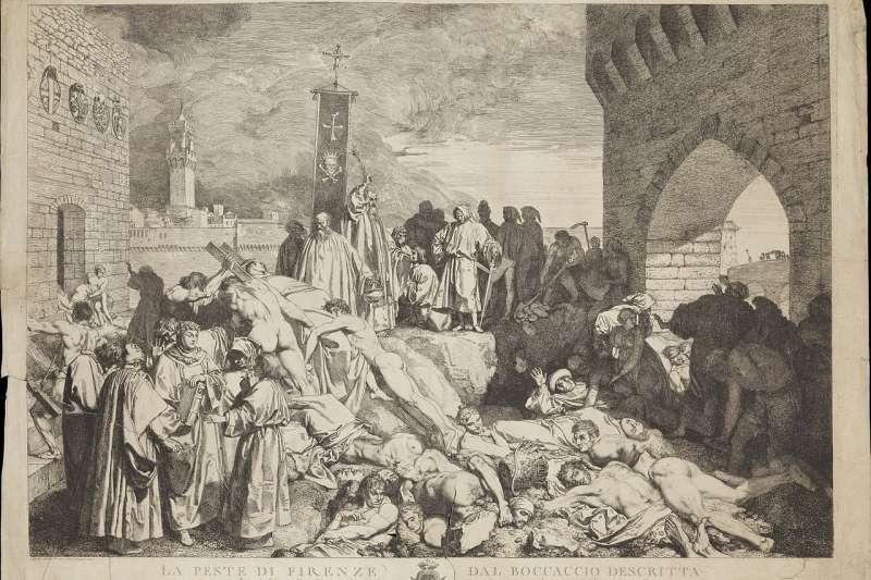 黑死病曾肆虐歐洲三次,圖為1348年佛羅倫斯的瘟疫繪圖。(取自維基百科)