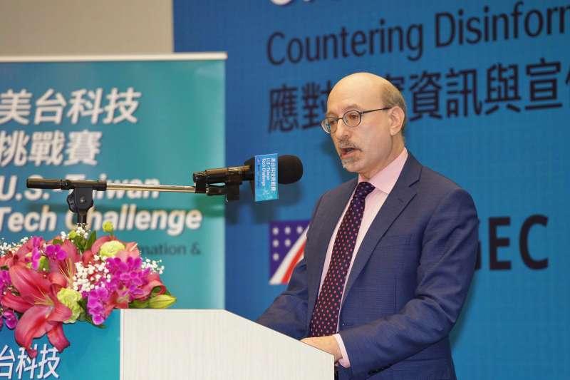20200220美國國務院全球參與中心副協調官基馬格20日出席美國科技挑戰賽:應對不實資訊活動開幕式。(盧逸峰攝)