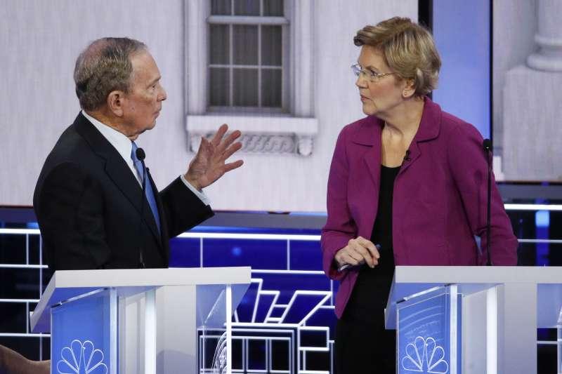 2020年2月19日,美國民主黨舉行總統候選人黨內初選第9場電視辯論會,前紐約市長彭博(左)槓上麻州聯邦參議員華倫(AP)
