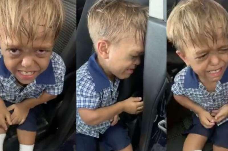 澳洲9歲原住民男童魁登因遭到同學霸凌而痛哭。(截自推特)