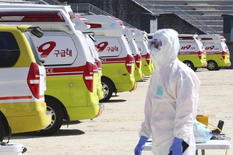 2020年2月,武漢肺炎(新冠肺炎)全面入侵南韓,全國如臨大敵(AP)