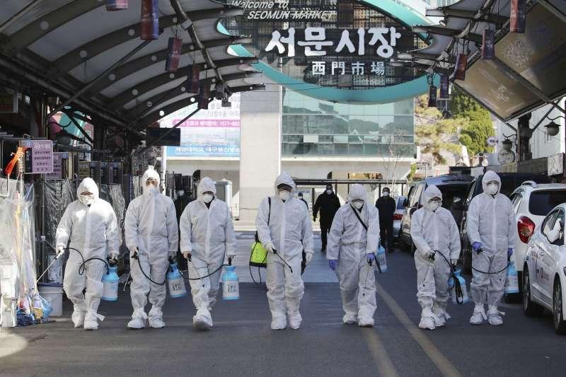 2020年,武漢肺炎(新冠肺炎)疫情在南韓大規模爆發,大邱市最為嚴重。(AP)