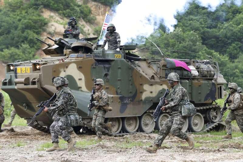 南韓與駐韓美軍一同參加聯合軍演。(美聯社)
