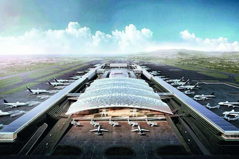 第三航廈設計圖呈現的工程、工法複雜,現在的預算無法達成。(桃園國際機場股份有限公司提供)