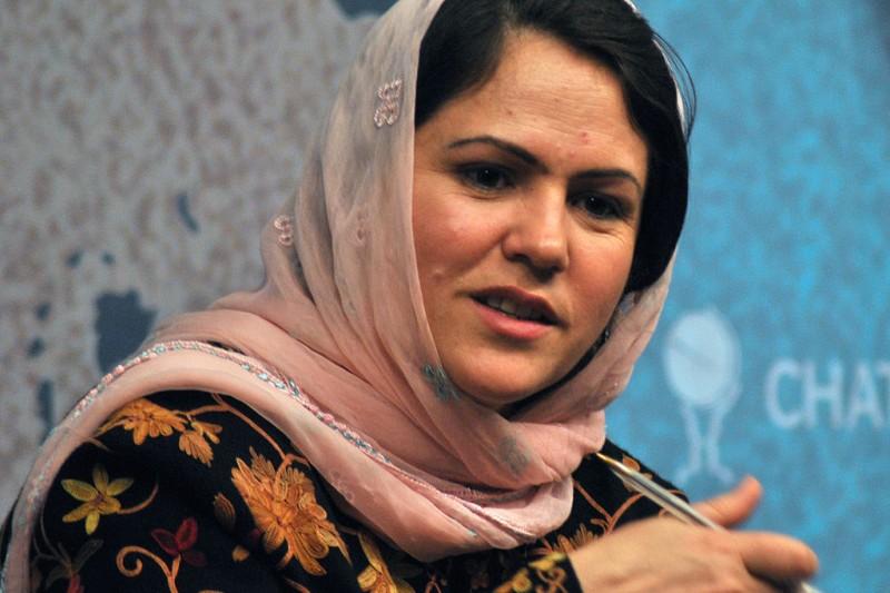 阿富汗國會副議長古菲,是與神學士談判的阿富汗代表團中唯二女性。(AP)