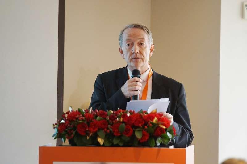 20200302-荷蘭辦事處2日舉行臺灣-荷蘭離岸風電產業人才培育合作峰會,代表紀維德致詞。(盧逸峰攝)