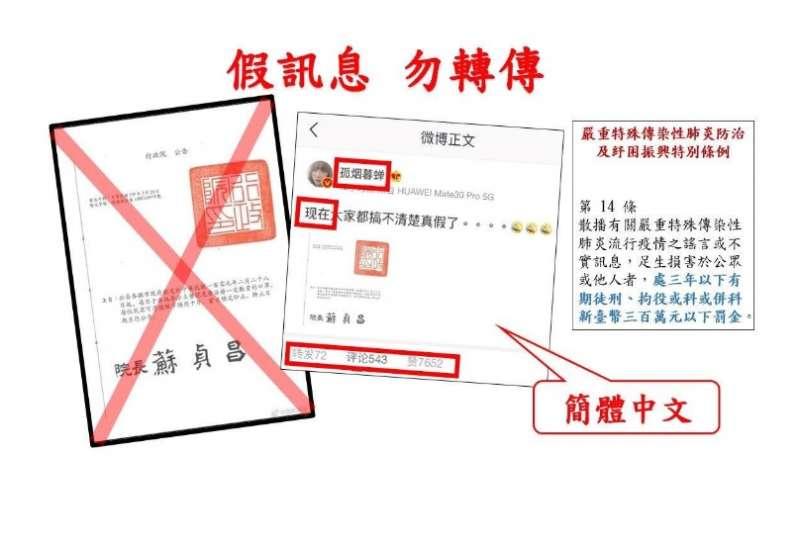 20200304-關於武漢肺炎疫情假訊息示意圖。(刑事警察局提供)