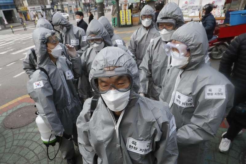 2020年3月,中國武漢肺炎(新冠肺炎)疫情重創南韓(AP)