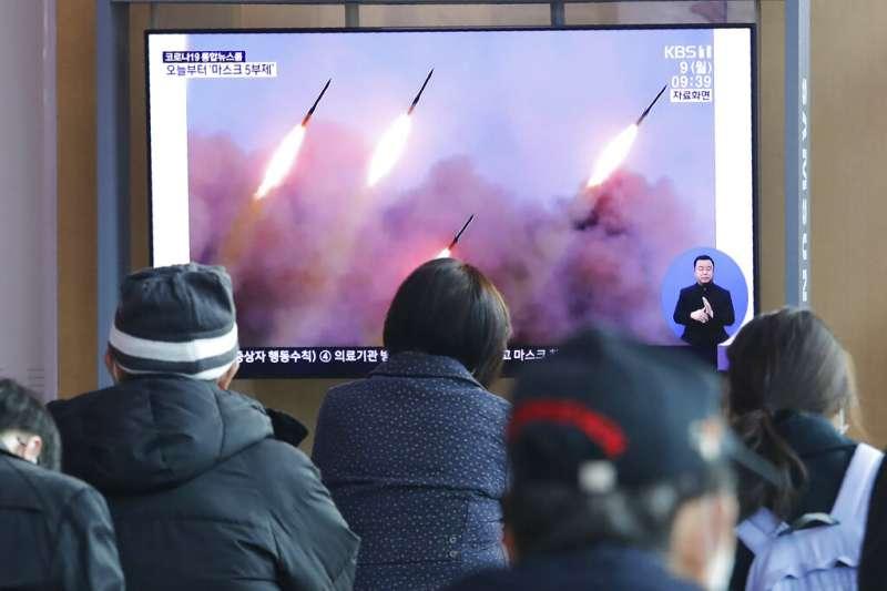 北韓3月9日上午又發射3枚短程飛彈,南韓也立即以快訊報導。(美聯社)