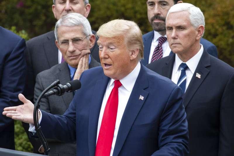 美東時間3月13日下午3時,美國總統川普宣布「國家緊急狀態」以應對新冠肺炎疫情。(AP)