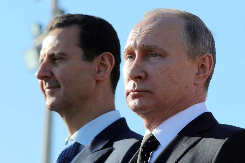 敘利亞內戰中的兩大魔頭:敘利亞總統阿塞德與俄羅斯總統普京(AP)