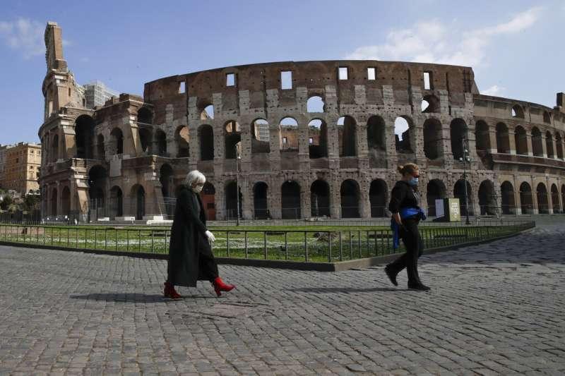義大利疫情肆虐,名聞遐邇的羅馬競技場也暫停開放。(美聯社)