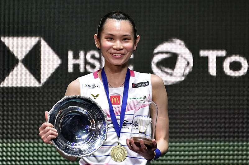 戴資穎在全英公開賽決賽擊敗中國好手陳雨菲,成功拿下全英公開賽冠軍。(美聯社)