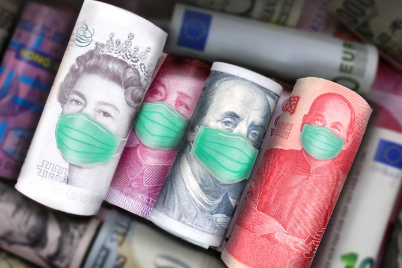 全球經濟與金融市場因為武漢肺炎而面臨大幅下滑風險。(合成圖)