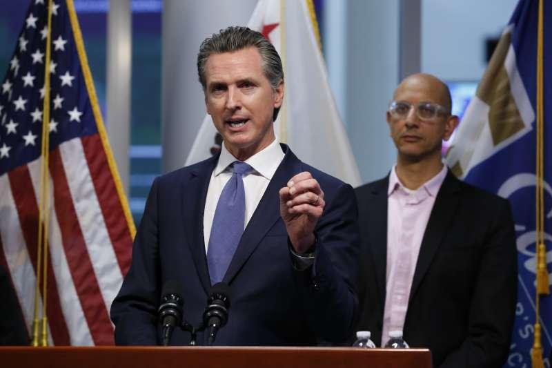 2020年3月,美國加州新冠肺炎(武漢肺炎,COVID-19)疫情升溫,州長紐森祭出封鎖措施(AP)