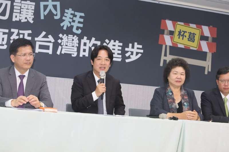 民進黨派系對內競爭、對外團結,林佳龍(左一)勢必對上賴清德(左二)。(柯承惠攝)