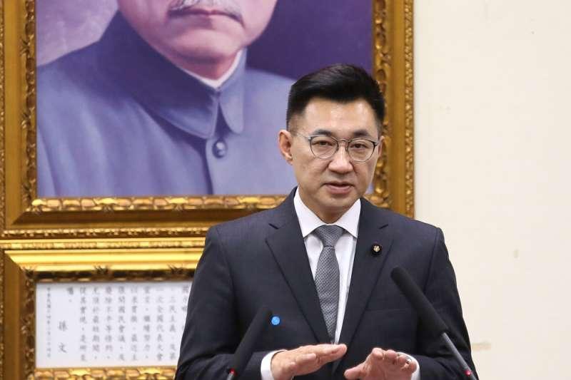 宣稱要走親美路線的江啟臣,卻又自稱「也是中國人」。(柯承惠攝)
