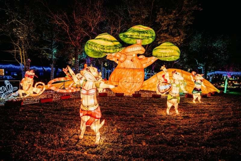 整個「動物狂歡嘉年華燈區」以生物知識、歡笑娛樂、工藝科技、視覺美學等四大核心來做策展規劃。(圖/臺中市政府提供)