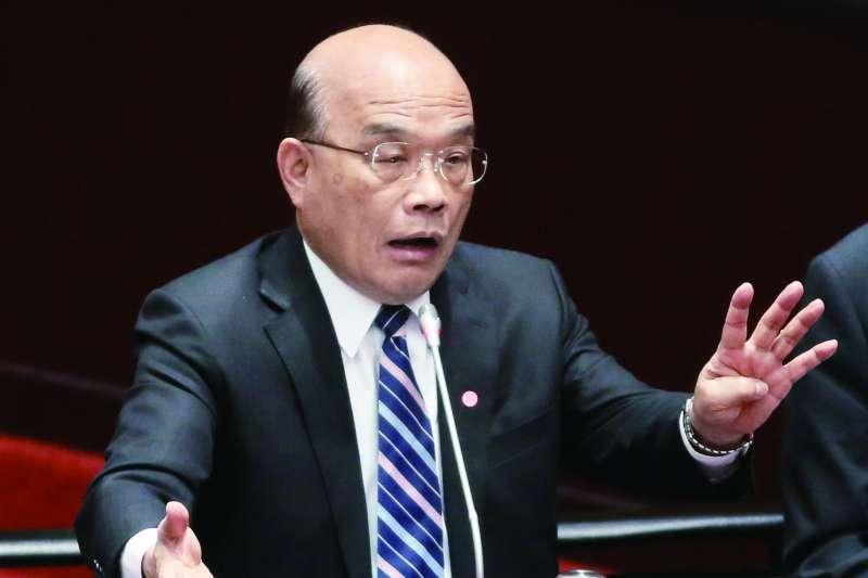 蘇貞昌重申行政院不會撤回函告無效決定。(柯承惠攝)