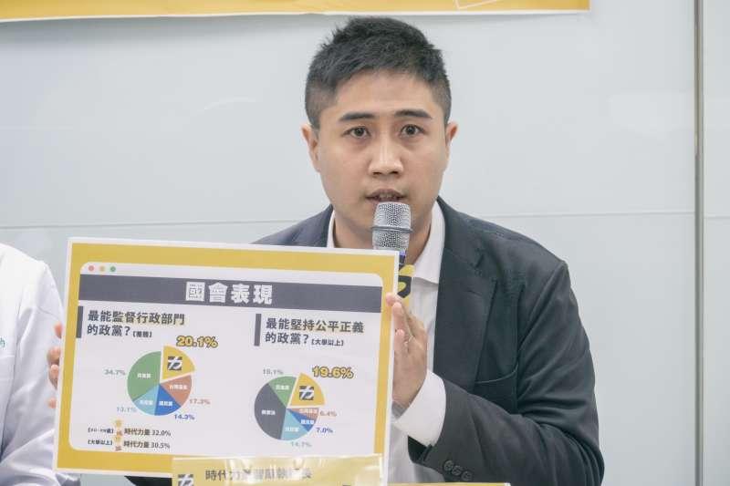 時力智庫執行長李兆立舉行民調記者會。(時力黨中央提供)
