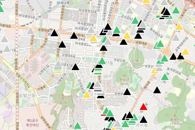 台灣工程師開發韓國版口罩地圖,供南韓國民使用。(圖片截自/韓國口罩地圖)