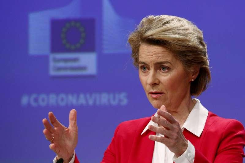 歐盟執委會主席馮德萊恩(Ursula von der Leyen)呼籲:我們需要一個歐洲的馬歇爾計劃。(AP)