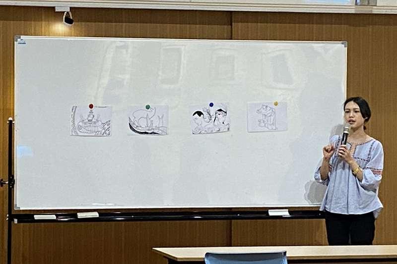 插畫家 Umav 透過自己的畫作,給參與民眾重新上色。(誠美社會企業提供)