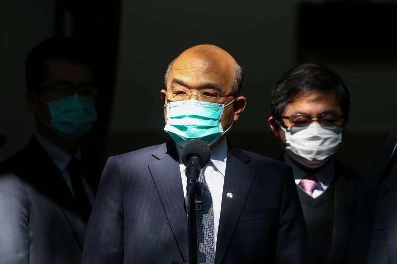 20200410-行政院長蘇貞昌10日於立院接受媒體聯訪。(顏麟宇攝)