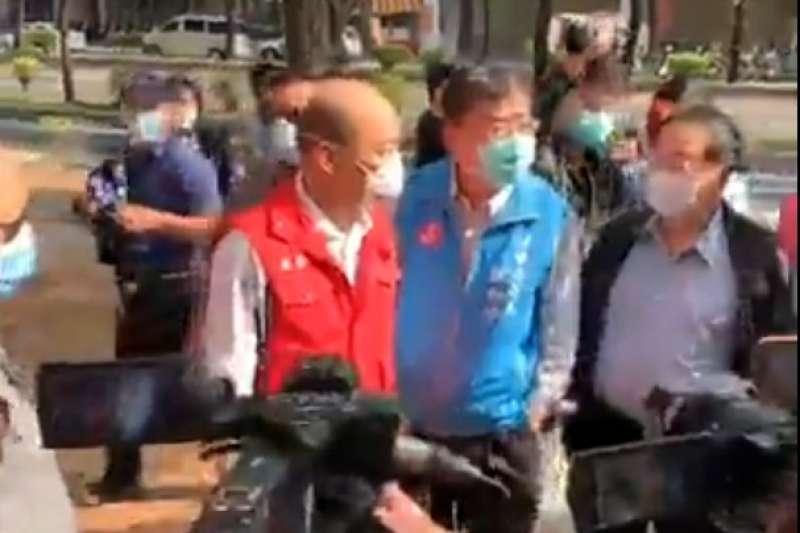 高雄市長韓國瑜20日上午前往漢神巨蛋視察消毒工作。(FB)