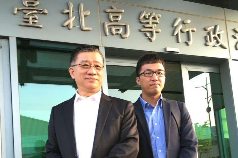 林石猛(左)是韓營欽點的行政訴訟王牌律師,他質疑「超前部署」已然違規。(侯柏青攝)