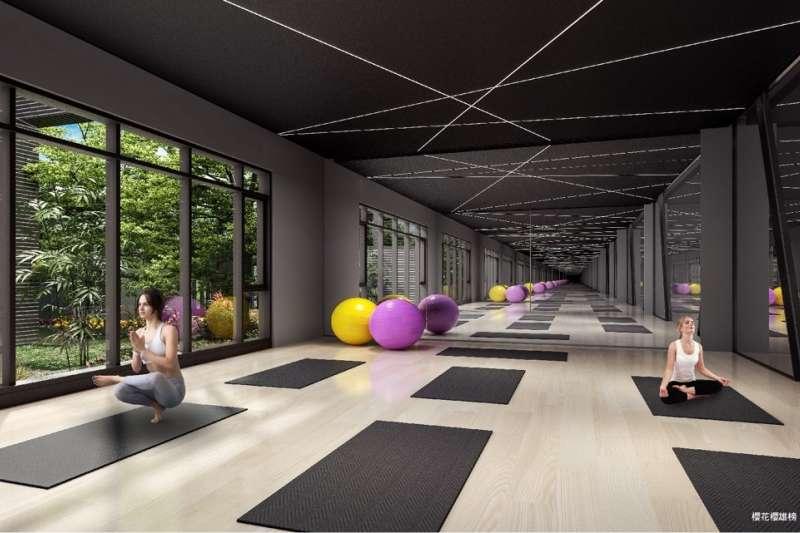建案公設規劃瑜珈室、健身房、親子室、多功能廚藝教室等,增添居家休閒情趣。(圖/富比士地產王提供)
