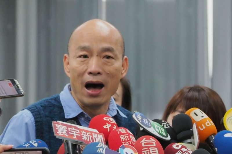 經NCC以標題法進行的觀測,高雄市長韓國瑜(見圖)於總統大選前,在新聞被播報總時數為總統蔡英文的3倍。(資料照,林瑞慶攝)