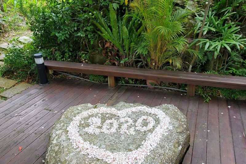 苗栗浪漫的油桐花,讓賞花民眾排出「I LOVE YOU」的字樣。(圖/苗栗縣政府提供)