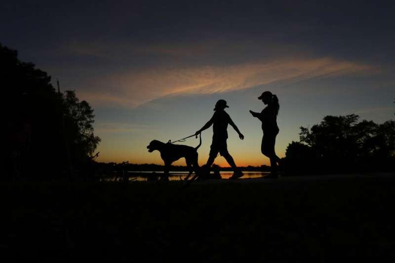 德州民眾在新冠疫情肆虐之際帶狗出外運動。(美聯社)