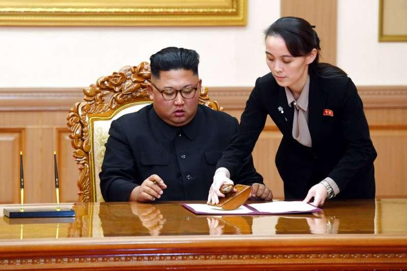 北韓金家第三代金正恩與金與正。(美聯社)