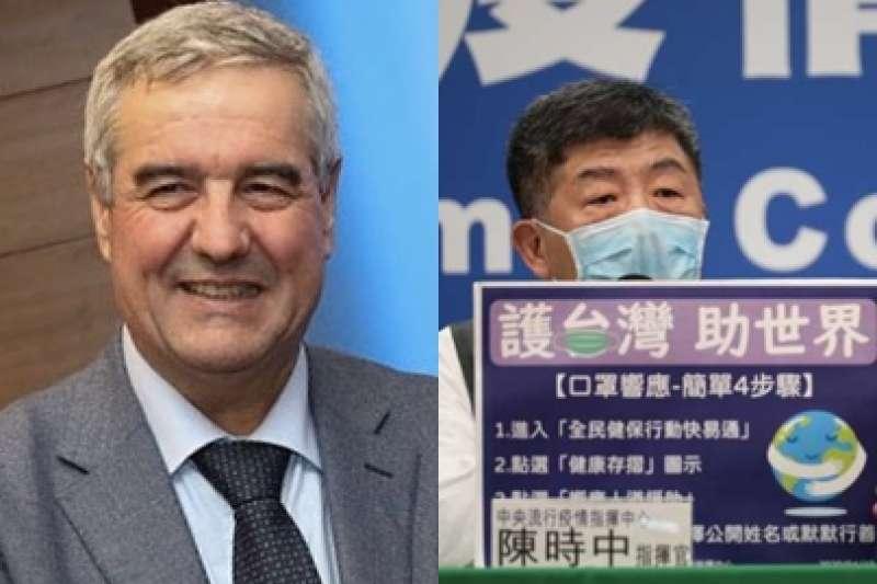 義大利民防總署署長波瑞里(Angelo Borrelli)27日在記者會中感謝多國幫助,感謝名單並未以字母排序國家,而把台灣排在第一位。(圖/維基百科、疫情中心記者會)