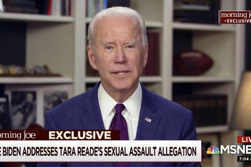 美國前副總統、準總統參選人拜登在電視上回應稱,前助理的性騷擾指控「從未發生過」。(AP)