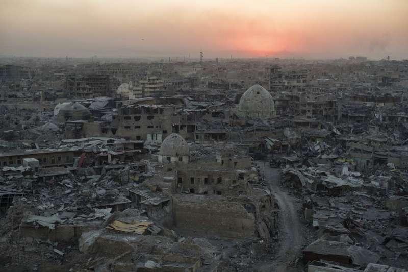 曾淪為恐怖組織「伊斯蘭國」據點的伊拉克大城市摩蘇爾。(AP)
