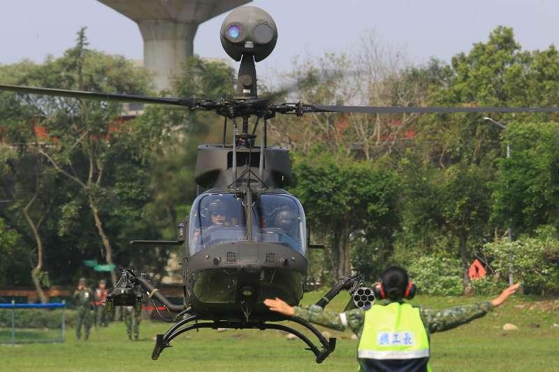 日前國軍一架OH-58D戰搜直升機失事墜毀,媒體質疑政府造神,筆者認為國軍不把保國衛民當作神話。圖非當事直升機。(資料照,取自青年日報社)