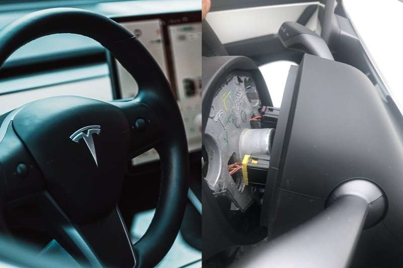 英國日前傳出特斯拉Model 3方向盤無預警鬆脫的意外事故。(圖/unsplash、Jason T Twitter)