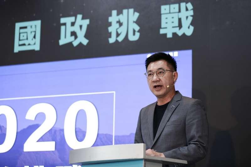 20200515-國民黨主席江啟臣主持「國政挑戰」記者會。(簡必丞攝)