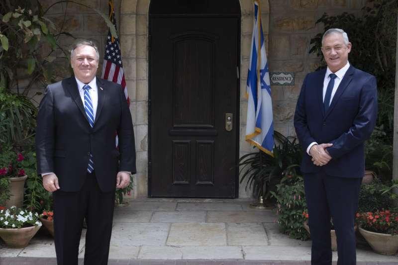 美國國務卿龐畢歐與以色列「藍白聯盟」領袖甘茨會面(AP)