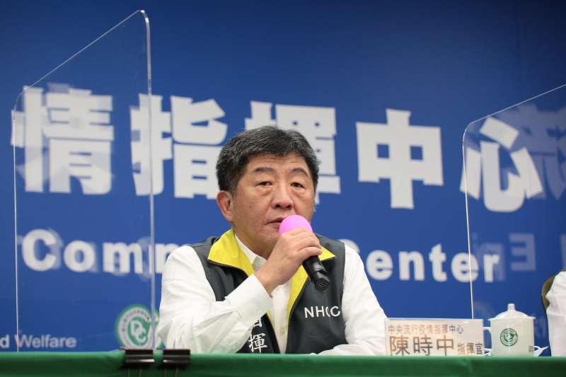 中央流行疫情指揮中心指揮官陳時中(見圖)宣布,台灣18日無新增新冠肺炎確診病例。(中央流行疫情指揮中心提供)