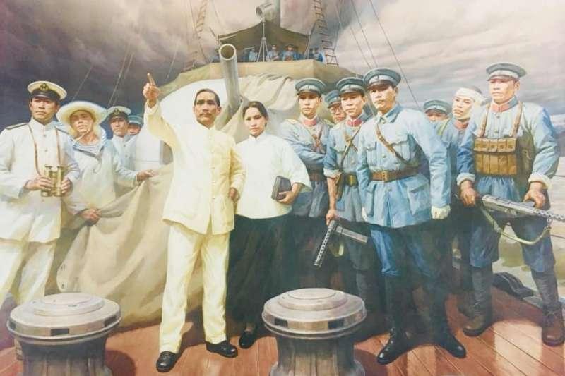 中山艦博物館內壁畫。(盧祥富提供)