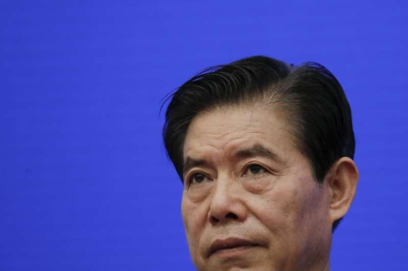 2020年5月18日,中國商務部長鍾山回應美國擴大制裁華為爭議(AP)